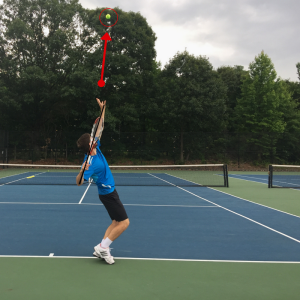 Serve with slice from deuce side-connecting tennis